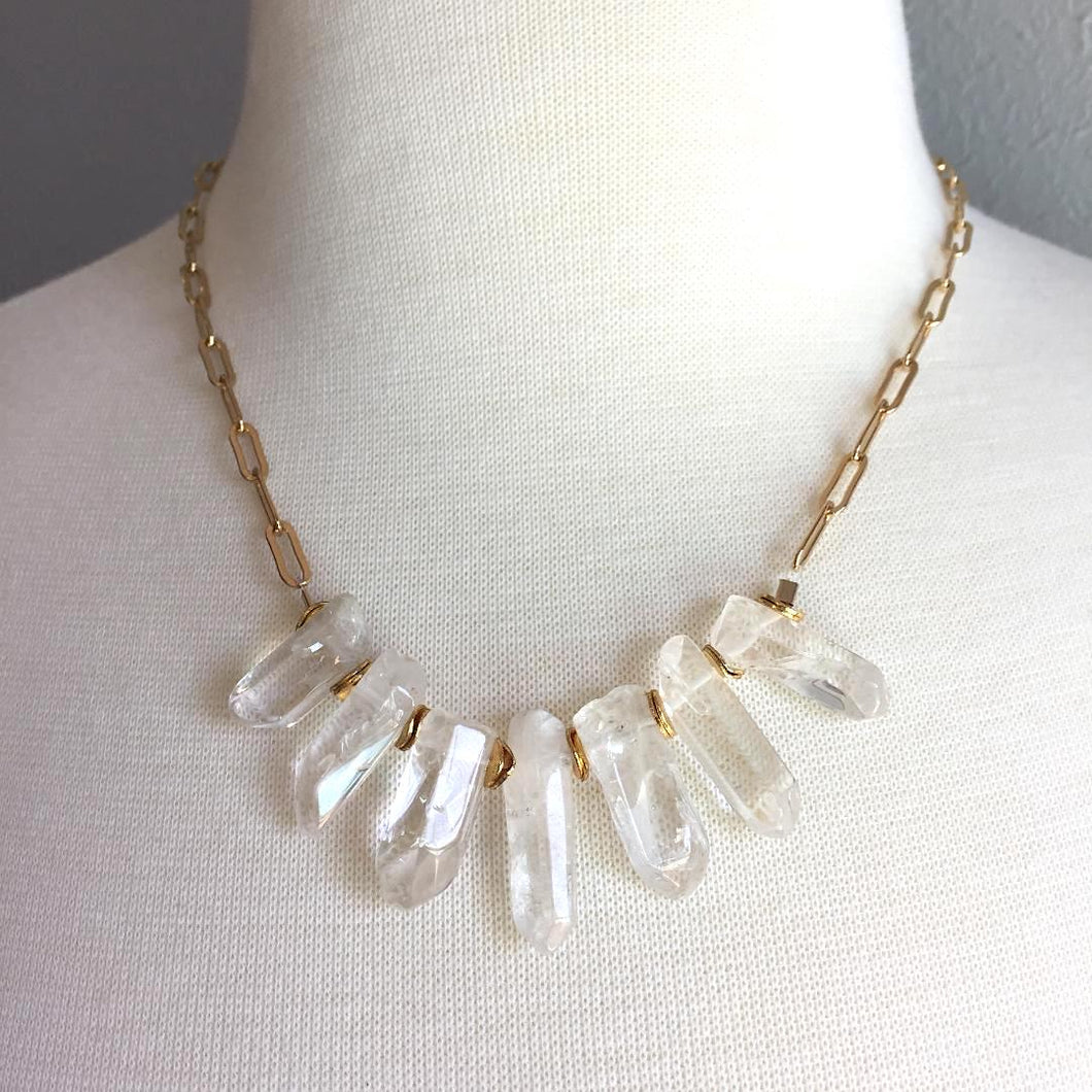 Quartz Crystal Spikes & Gold Chain Necklace