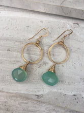 Coiled Hoop Earrings — Aqua Chalcedony