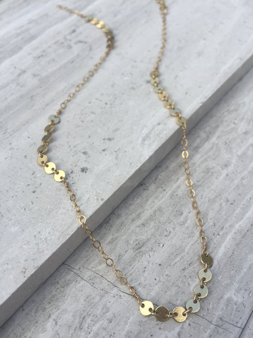 Delicate Dot and Chain Necklace gold