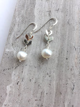 Double Chevron and Pearl Earrings, silver