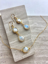 Chocolate Moonstone Square Necklace, Double moonstone earrings