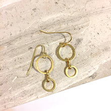 Double Gold Circle small Dangle earrings
