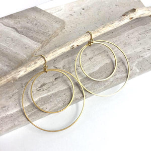 Double Hoop Orbit Earrings — Gold