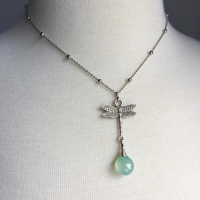 Silver Dragonfly Charm Necklace — Aqua Gemstone