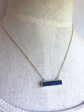 Slim Blue Druzy Bar Necklace, on mannequin