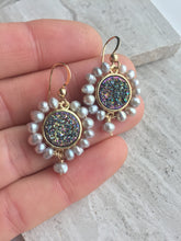 Druzy & Pearl Halo Earrings, in hand