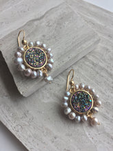 Druzy & Pearl Halo Earrings, on tile