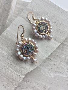 Druzy & Pearl Halo Earrings