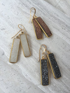Druzy Bar Earrings, gold