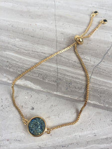 Druzy Adjustable Chain Bracelet — Green round