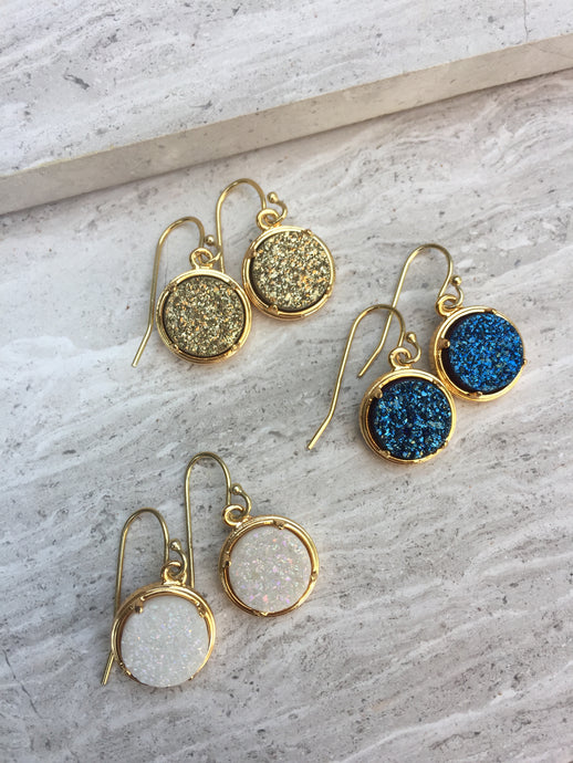 Druzy dot earrings gold- all colors