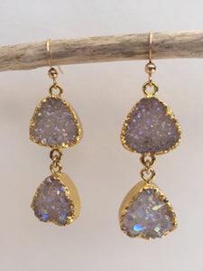 Druzy Double Dangle Earrings