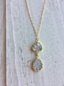 Druzy Double Droplet Pendant Necklace