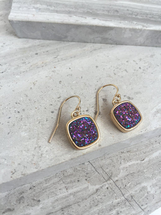 Druzy Square Earrings — Purple, gold