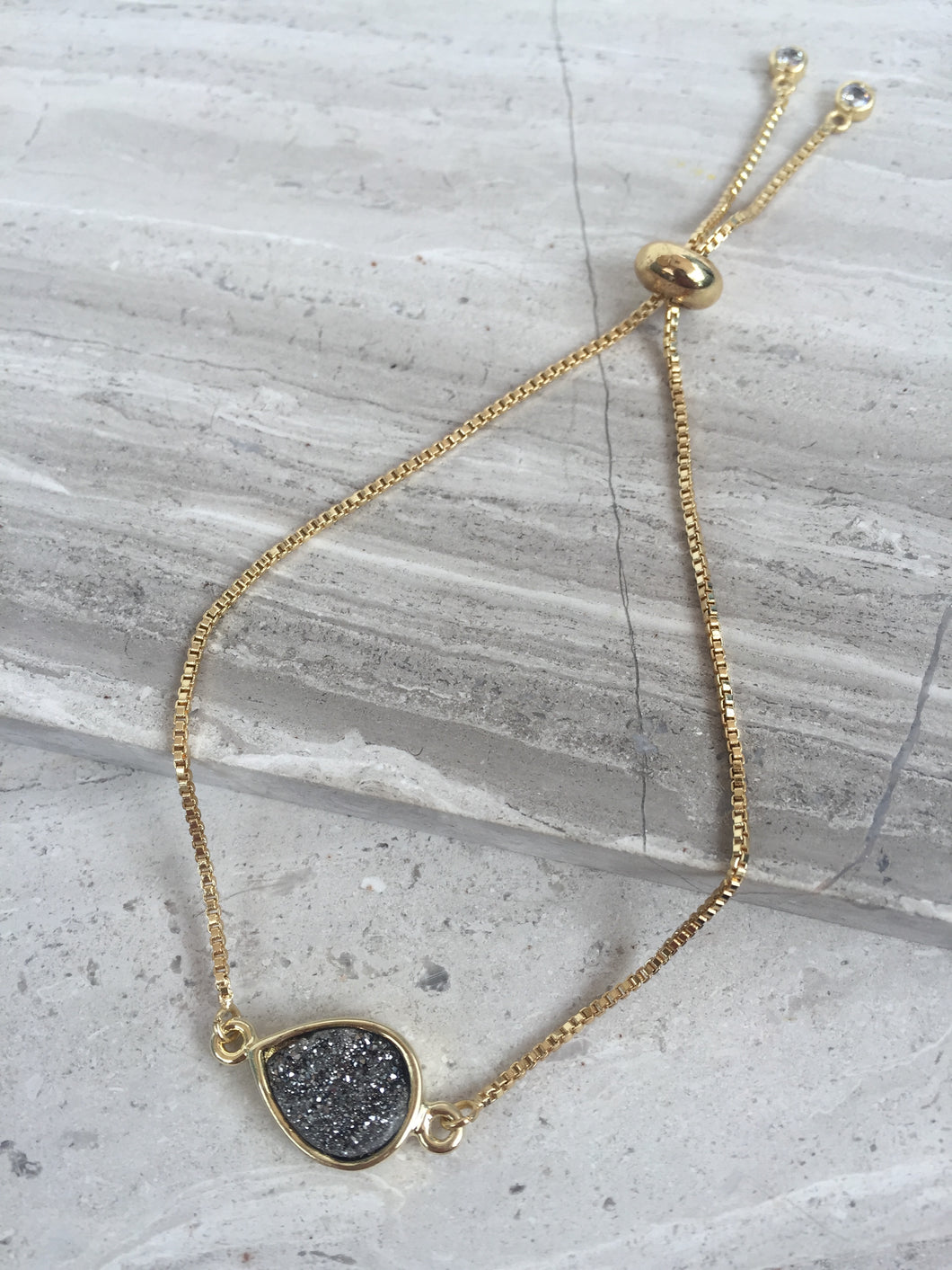 Druzy Adjustable Chain Bracelet — Silver Tear Drop