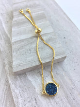 Druzy Adjustable Chain Bracelet —  Blue round