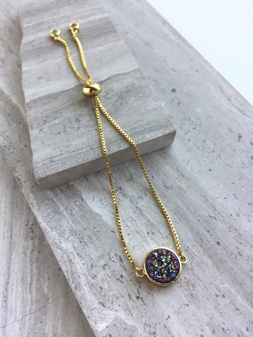 Druzy Adjustable Chain Bracelet — Purple round