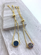 Druzy Adjustable Chain Bracelet — Purple and Blue round