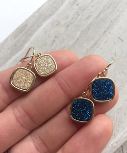 Druzy Square Earrings — Deep Blue and Champagne colors