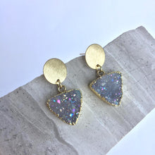 Druzy Triangle & Brushed Coin — post Earrings