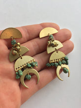 Ancient Egypt Turquoise and Brass Post Earrings