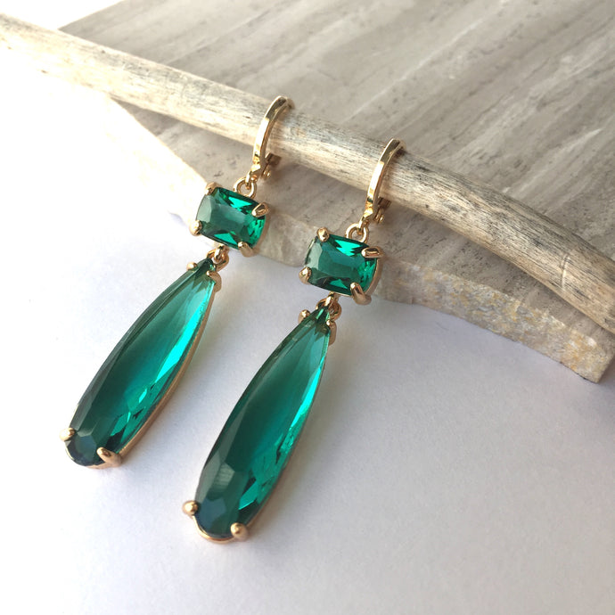 Emerald Glass Long drop prong set stone Earrings