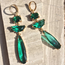 Emerald Green glass long stone prong set Earrings