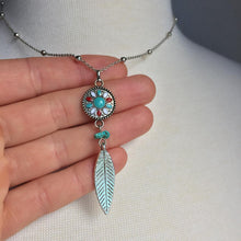 Enamel Dream Catcher —Turquoise Feather Necklace