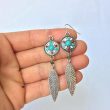 Enamel Dream Catcher —Turquoise Feather Earrings