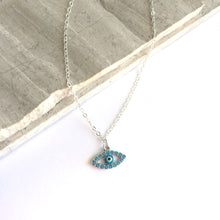 Turquoise CZ Evil Eye Charm Necklace — Silver