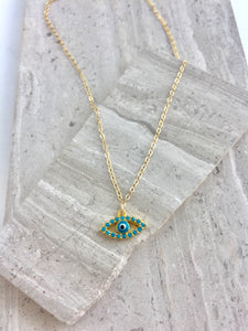 Turquoise CZ Evil Eye Charm Necklace