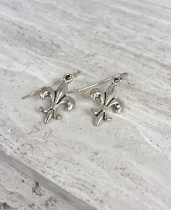 Fleur-de-lis Earrings, silver