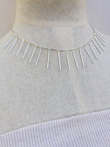 Fringe Necklace, silver on mannequin
