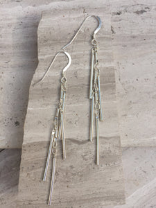 Fringe Earrings, silver