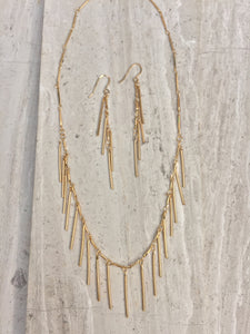Gold Fringe Earrings, necklace and earring set