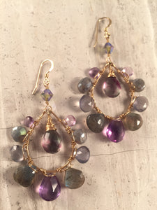 amethyst, labradorite, iolite, fluorite, Swarovski crystal, 14K over sterling silver wire earrings