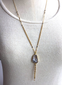 Long Geode Chain Tassel Necklace