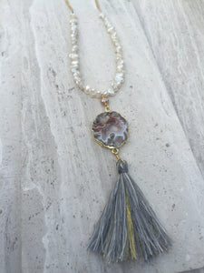 Geode tassel necklace, long, white freshwater pearl