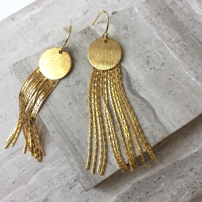 Gold Disk w/ Chain tassel — Long Earrings