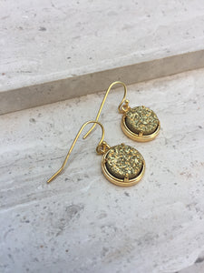 Gold druzy dot earrings, side shot—gold