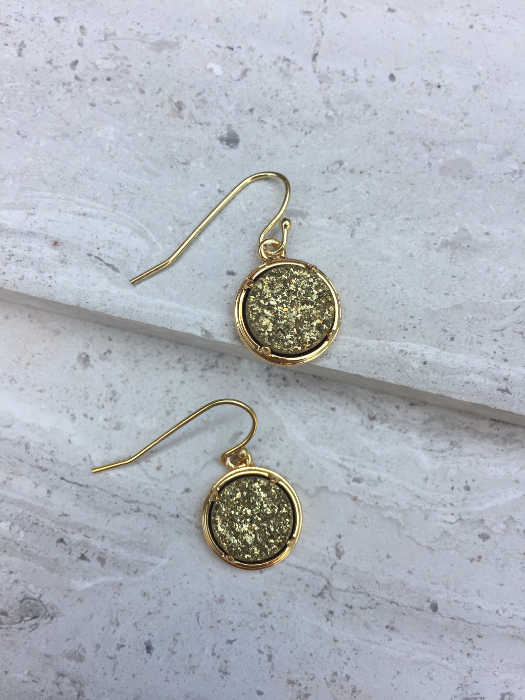 Gold druzy dot earrings —gold