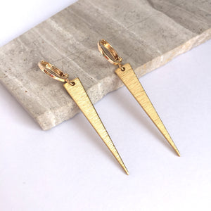 Gold triangle spike / huggie lever back Earrings