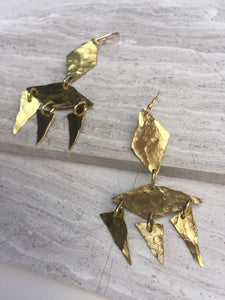 Nordic Wedding Earrings—hammered brass