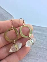 Hammered Brass Crystal Point Earrings, in hand