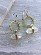 Hammered Brass Crystal Point Earrings