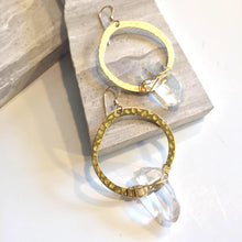 Hammered Hoop / Wrapped Quartz Crystal Earrings