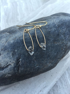 Herkimer Diamond Earrings, gold