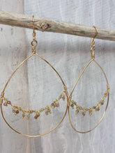 Hoop and Fringe Earrings, gold — Sapphire (hanging)