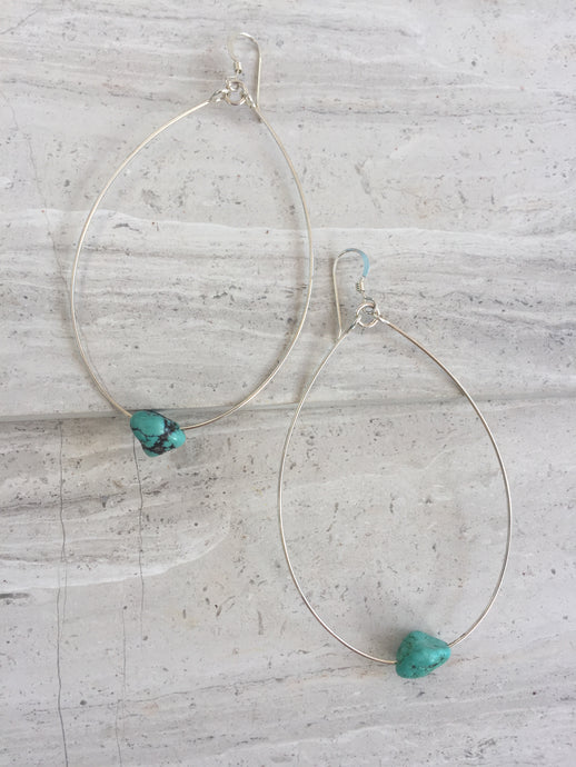 Huge Hoop Turquoise Nugget Earrings