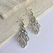 Silver filigree long drop Chandelier Earrings